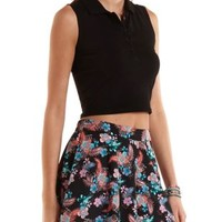 Sleeveless Polo Crop Top by Charlotte Russe