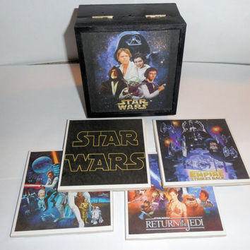 Star Wars Movie Posters Wooden Box and Ceramic by myevilfriend