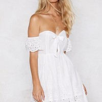 Let's Run Off-the-Shoulder Broderie Dress
