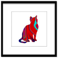 Bright Printable Poster, Red Abstract Patterned Cat, Cat Art Instant Download, Cat Lovers Wall Art