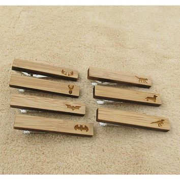 Men's Favorite Animal Collection Wooden Tie Bars/Clips - 7 Styles