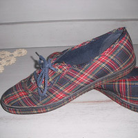 vintage PLAID canvas flats Lace ups ~ Grasshoppers ~ oxfords ~~ Hipster ~ Indie Size 8