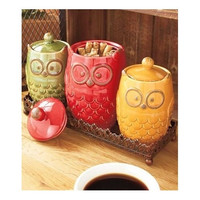 Canister Set Owl Storage Kitchen Retro Vintage Boho 4 Pc Flour Sugar Coffee