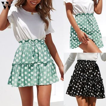 Plus-Size Polka Dot Print Ruffles A-Line Pleated Lace Up Short SKirt