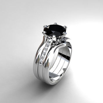 Black spinel engagement ring set, diamond engagement, white gold, black diamond ring, gothic, stacking rings, curved wedding, black wedding