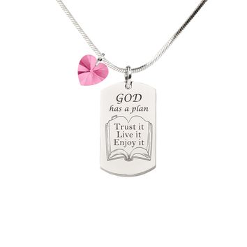 Pink Box Inspirational Tag Necklace with Crystal from Swarovski - God Has A Plan