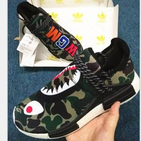 CHEN1ER ADIDAS Bape Shark Camouflage Trending Fashion Camouflage Casual Sports Shoes G-AA-SDDS