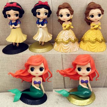 1pc 14cm New princess Belle Doll Snow white model toys Beauty and The Beast action figures Girl's toys gifts