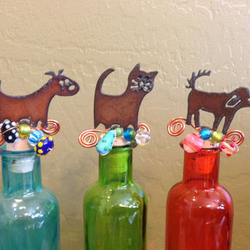 DOG or CAT KITTEN Wine Bottle Cork Stopper Topper Rusted Metal Decorative