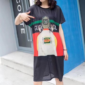 """Gucci"" Women Fashion Multicolor Letter Cat Pattern Print Mesh Short Sleeve T-shirt Dress"