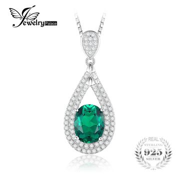 JewelryPalace New 1.67ct Oval Created Emerald Necklaces Pendants Vintage 100% 925 Sterling Silver Chain Fine Jewelry Charms Gift