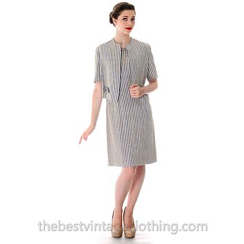 Vintage Linen Sheath Dress/Jacket 1950s 'S Caroline Dubac 36-30-38 FRENCH DESIGNER