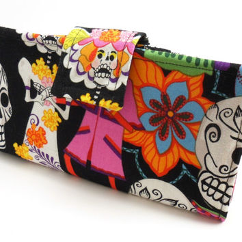 Day of the Dead Fabric Wallet, Smart Phone Clutch Wallet Sugar Skull- Black Yellow