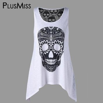 Plus Size 5XL Lace Crochet Back Skull Print Tank Tops Women Clothes Summer Sleeveless