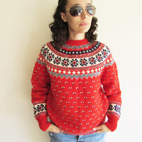 Vintage Red Original Lanz Salzburg Wien Austia Patterned Wool Knit Sweater