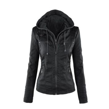 MDIGHQ9 Womens Casual Motorcycle Fleece Hoodie Faux Leather Jacket