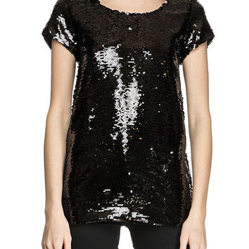 Black and White Sequined Short Sleeve Shirt