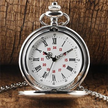 83077dffe3d New Arrival Silver Smooth Quartz Pocket Watch for Men Women With Short  Chain Round Dial for