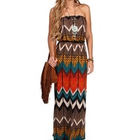 GrayBlack Strapless Belted Maxi Dress