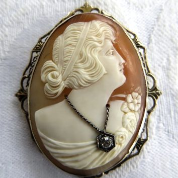 Antique 14K Shell Cameo Brooch Pendant Diamond Habille Filigree Frame Victorian Revival Jewelry