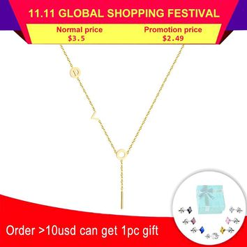 LUXUSTEEL New Round Circle Love Pendant Necklaces Stainless Steel Gold/Silver/Rose Gold Color Tassel Necklace Women Collars