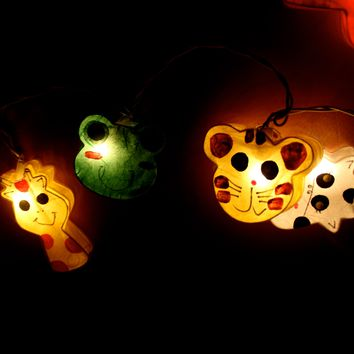 Mixed Animal Shaped Handmade Mulberry Paper String Light Lanterns