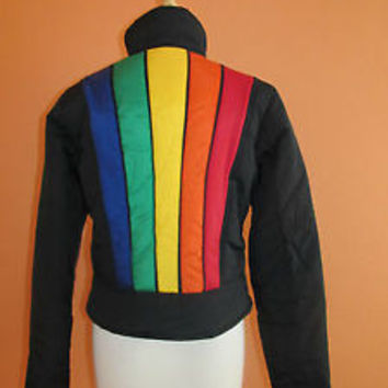 Vintage 80's-90's Tommy Hilfiger Womens Size M Black Rainbow Ski Jacket/Coat
