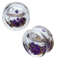 BodyJ4You Plugs Acrylic Purple Floating Stars Saddle 00G Body Piercing Jewelry