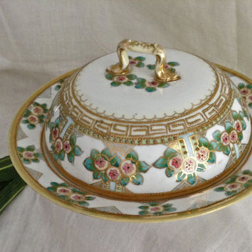 Nippon Covered Butter Dish, Vintage China, Nippon Covered Cheese Dish, Hand Painted