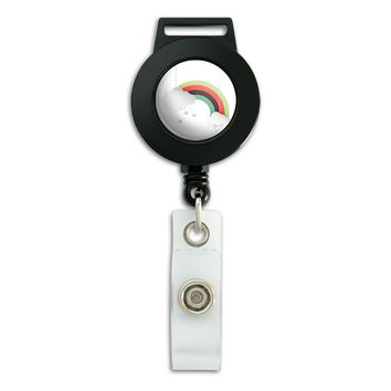 Rainbow with Hearts Retractable Badge Card ID Holder