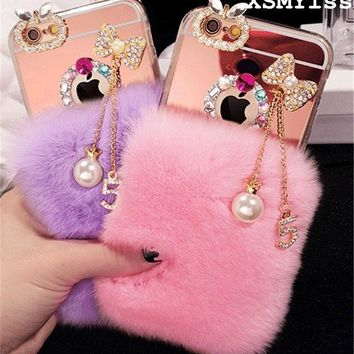 XSMYiss Bowknot tassel Warm Soft Beaver Rabbit Fur Hair phone cases For iphone X 5s 6s 7plus 8 8 Plus protective phone back