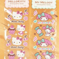 Hello Kitty My Melody Bling Bling Glitter Stickers Decor Stickers Gift 2 Sheets