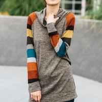 Striped Sleeve Cowl Neck Tunic - Brown