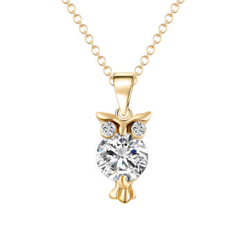 Owl Necklace. Crystal Zircon Pendant makes A Great Gift.