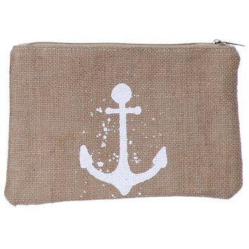 Anchor Burlap Zipper w/ Wristlet Cosmetic Bag