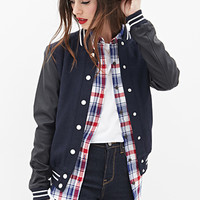 FOREVER 21 Faux Leather Varsity Jacket