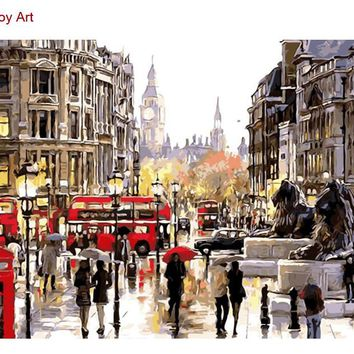 Framed oil paint painting by numbers diy picture drawing coloring on canvas painting by hand wall paint landscape Rainy Street