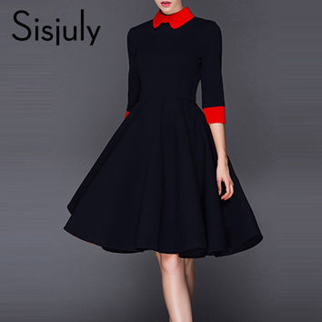 Sisjuly Pleated Dresses Elegant Women Color Yellow Block Lapel Half Sleeve Slim Day Party Dress