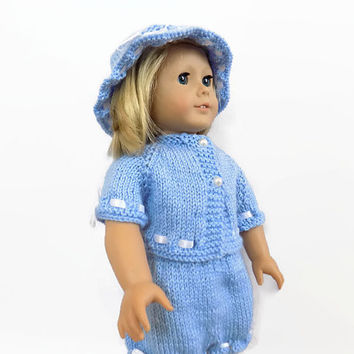 Doll Sweater Shorts Hat Set, Doll Outfit, 18 Inch Doll Clothes