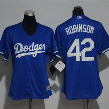 Women's Los Angeles Dodgers 42 Robinson Majestic Cool Base Jersey