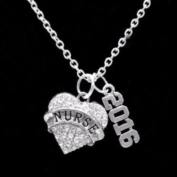 Crystal Nurse Class of 2016 Graduation Gift RN LPN Nurses Charm Necklace
