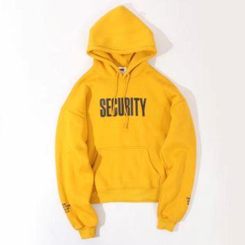 VETEMENTS yellow hooded Add wool Men and women oversize loose