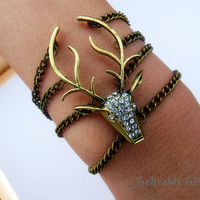 elk bracelet with bling bling crystals,Harry potter's guard BE01