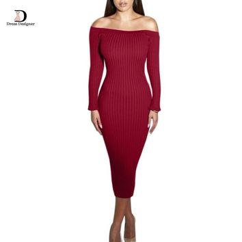 Off the Shoulder Bodycon Sweater Dress