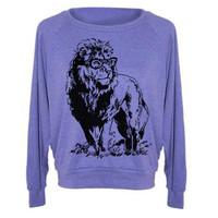 Womens Sweatshirt Lion Professor Tri-Blend Raglan Pullover - American Apparel - S M and L (8 Color Options)