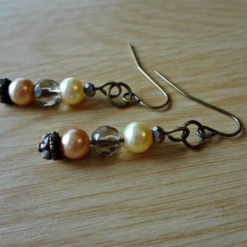 Victorian Rose and Yellow Pearl Beaded Dangle by EudaimoniaJewelry