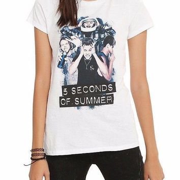 5 Seconds Of Summer SILLY PHOTO Ladies Girls Junior T-Shirt NEW 100% Authentic