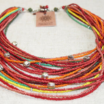 Red multi colored necklace with bells. Traditional Ukrainian multi strand necklace. Multi colored necklace in folk boho gipsy hutsul style