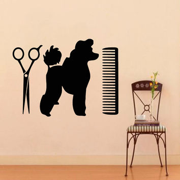 Pets Wall Decals Dog Grooming Salon Decal Vinyl Sticker Puppy Pet Shop Scissors Interior Design Kids Nursery Baby Room Wall Art Decor Z805