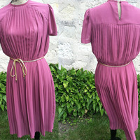 70's Vintage Pink Pleated Dress - ZiZi by Barbara Chodos
